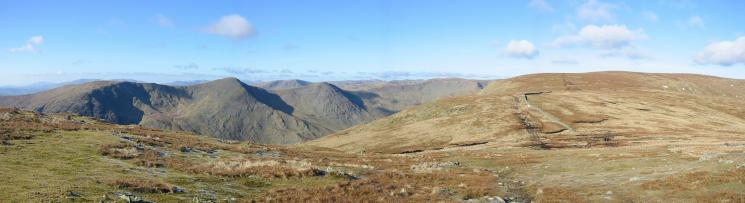 Looking back towards Harter Fell and across Kentmere to the Ill Bell ridge