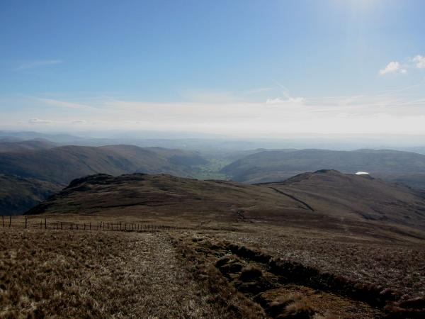 Looking down on Goat Scar (left) and Shipman Knotts (right) with Skeggles Water beyond from Kentmere Pike