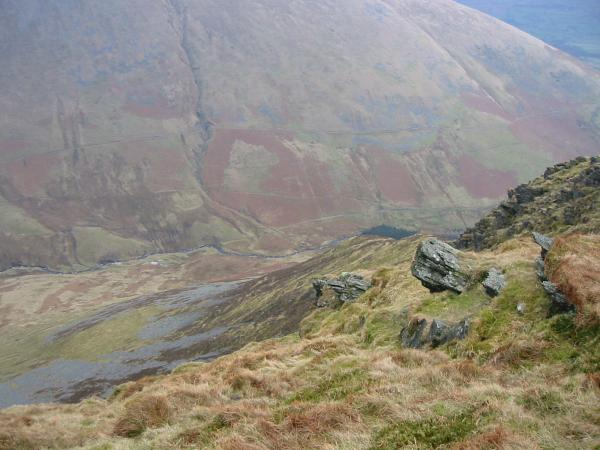 Looking down on Glenderaterra Beck from Lonscale Fell's east top