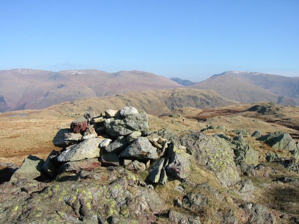 Steel Fell and the eastern fells from Calf Crag's summit cairn