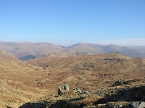 'The Bog' and Calf Crag from the path up to Greenup Edge