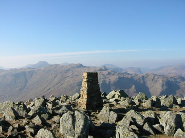 Great Gable, Glaramara and Honister Crag from High White Stones, High Raise's summit