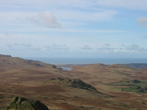 Looking over Great Crag to Devoke Water and the sea from Green Crag