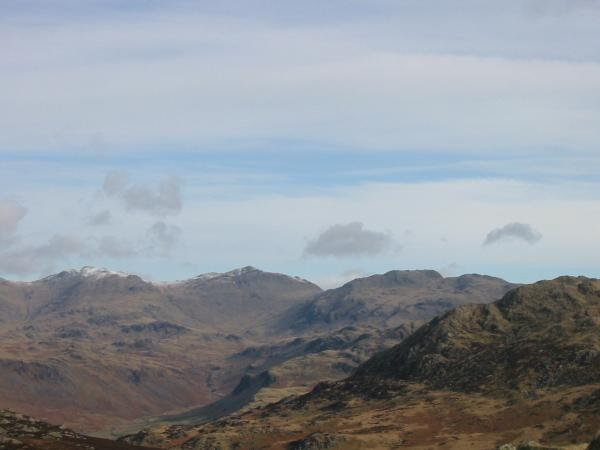 Esk Pike, Bowfell and Crinkle Crags from Green Crag summit