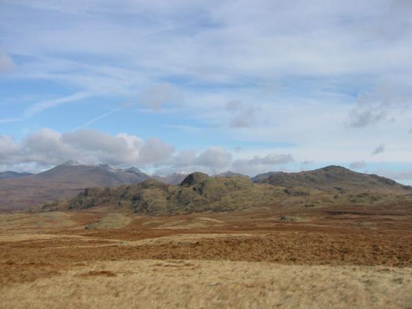 Green Crag with the high fells behind from Great Worm Crag