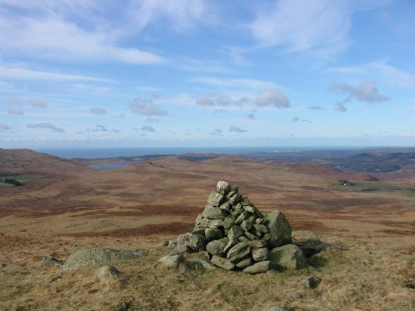 Devoke Water and the sea from Great Worm Crag summit