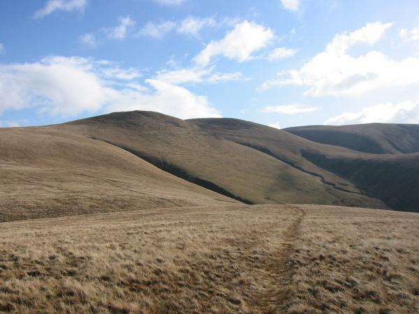 Looking back to Little and Great Sca Fells from the ascent of Lowthwaite Fell