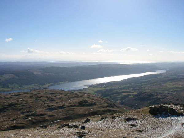 Looking back down the ridge towards Coniston Water and the sea