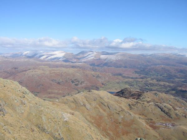 Looking over Birk Fell to the Helvellyn and Fairfield fells
