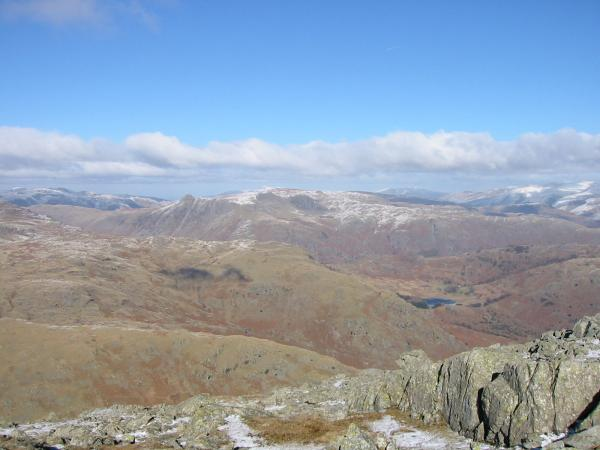 The Langdale Pikes and Blea Tarn from Wetherlam