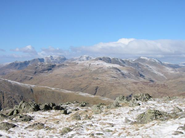 Scafell, Scafell Pike, Crinkle Crags and Bowfell from Wetherlam