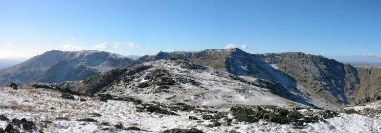 Black Sails with the Coniston Old Man to Great Carrs ridge behind from Wetherlam