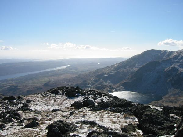 Coniston Water and Levers Water from Black Sails summit