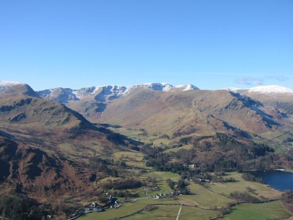Patterdale and the Helvellyn massif from the descent to Boredale Hause