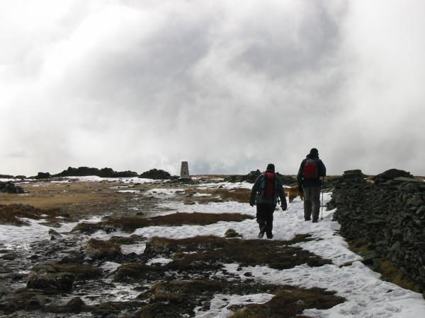 Approaching High Street's trig point