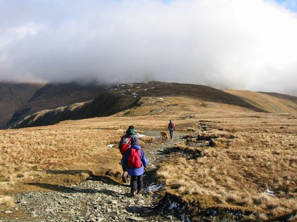 Heading for Mardale Ill Bell with Harter Fell lost in cloud behind