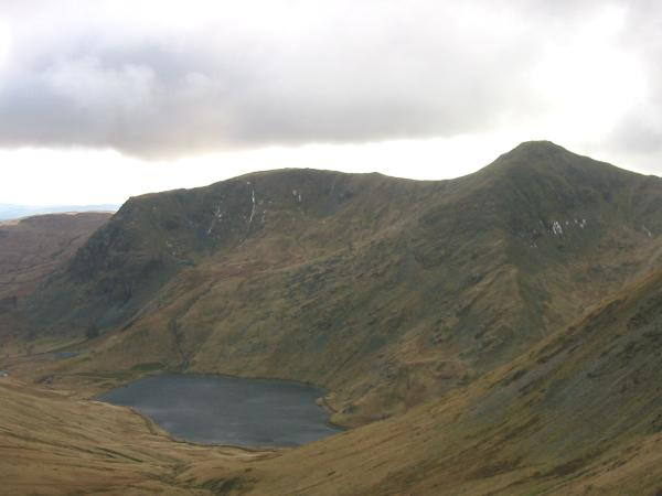 Yoke and Ill Bell above Kentmere Reservoir from the descent to Nan Bield Pass