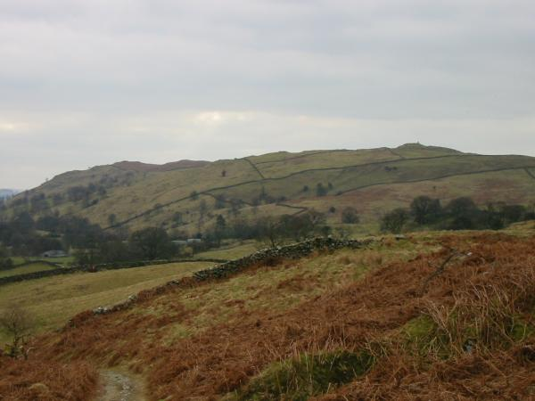 Hugill Fell on the left and High Knott with Williamson's Monument on its summit on the right