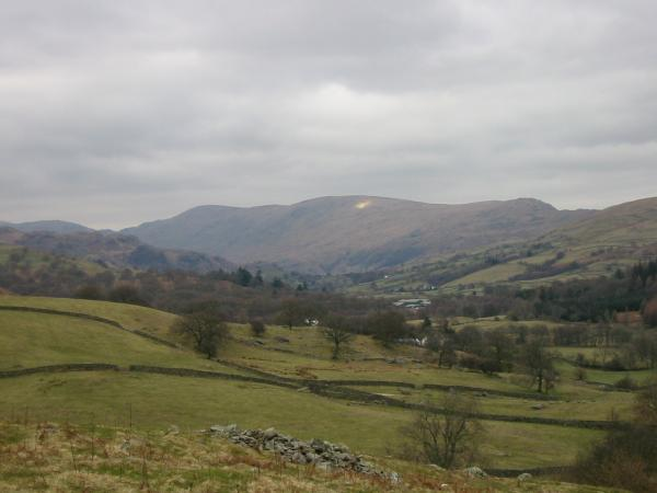 Harter Fell, Kentmere Pike and Shipman Knotts from the footpath above Browfoot
