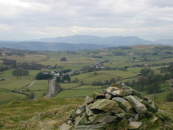 The village of Ings and the Coniston Fells from Reston Scar's summit