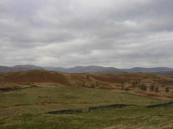 The view north over Hugill Fell to the Kentmere Fells from the summit