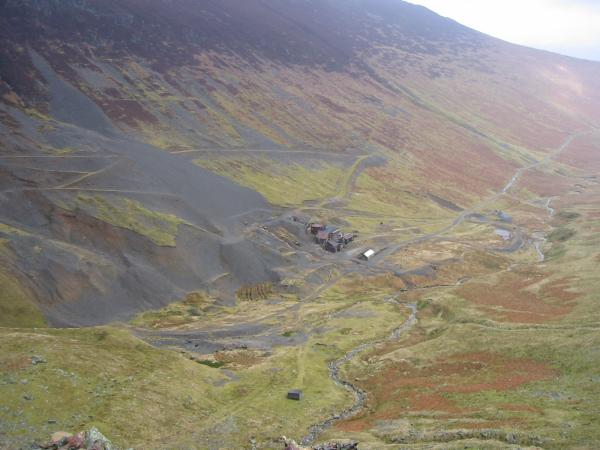 Looking down on Force Crag Mine