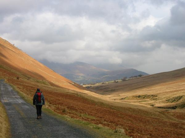Heading along the old mine road, Coledale