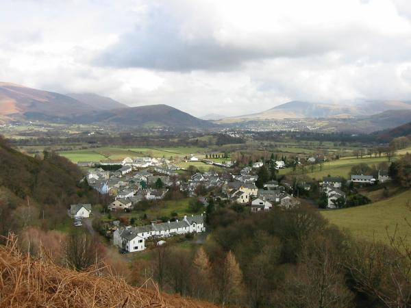 The village of Braithwaite with Latrigg behind