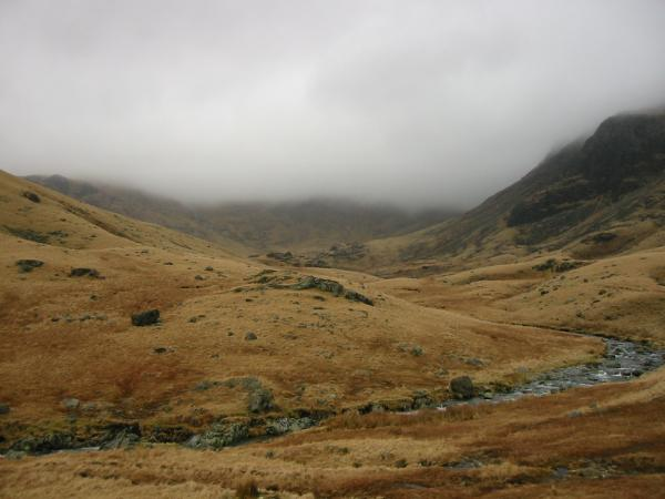 Bowfell straight ahead, lost in cloud