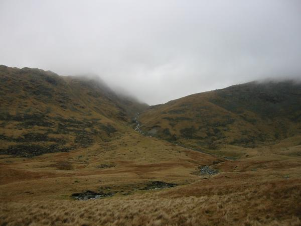 My route was up the right hand side of Yeastyrigg Gill (centre photo) to Ore Gap