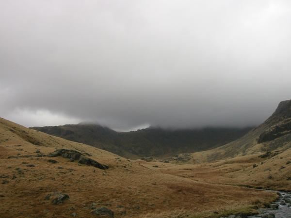 The cloud had lifted a bit to reveal Ore Gap. However the tops of Esk Pike left and Bowfell right are still in cloud