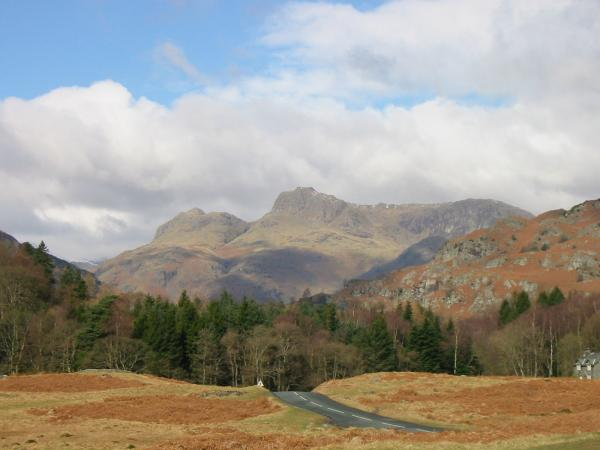 The Langdale Pikes from Elterwater Common