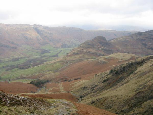 Looking back down into Great Langdale from the path up Pike o' Blisco with Side Pike centre right