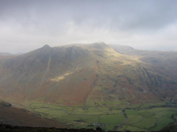 Looking across Great Langdale to the Langdale Pikes