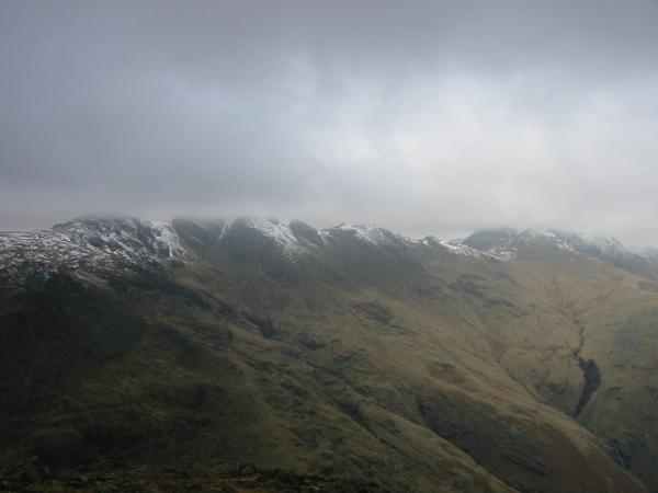 ...and Crinkle Crags and Bowfell with their tops hidden by cloud