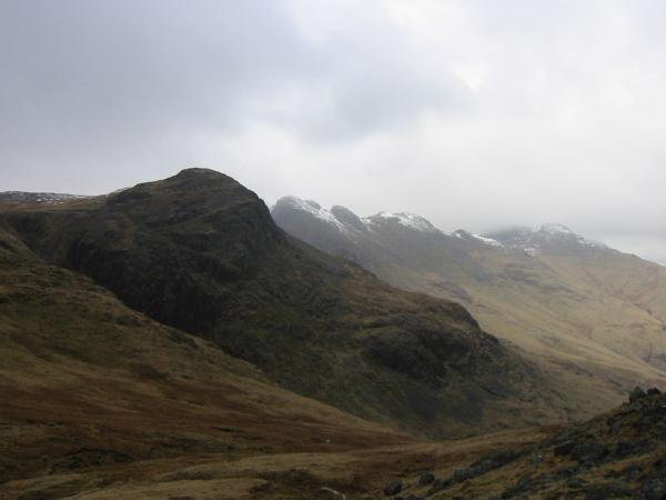Great Knott, Crinkle Crags and Bowfell from the descent to Red Tarn
