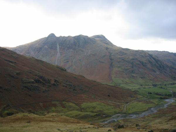 The Langdale Pikes from above Oxendale
