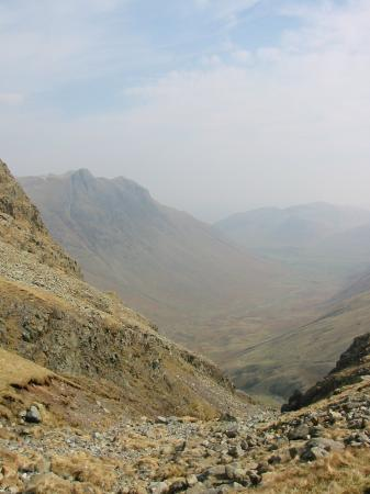 The Langdale Pikes from the top of Rossett Gill