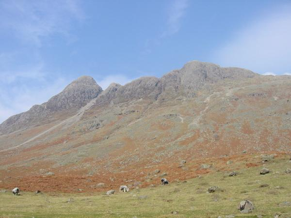 Looking up at Pike O' Stickle and Gimmer Crag (the main rock face of Loft Crag) from Mickleden