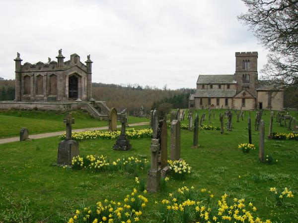 St. Michael's church with the mausoleum of William the second Earl of Lonsdale on the left