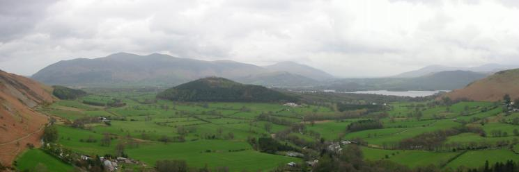 Swinside with the Skiddaw Fells and Blencathra behind from the ascent of Rowling End