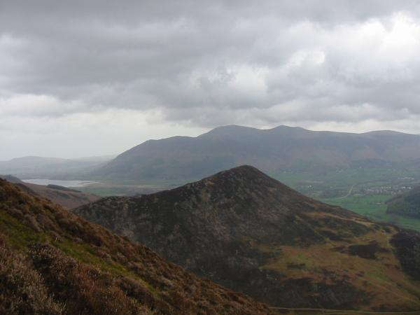 Looking over Barrow to the Skiddaw Fells from the climb up Causey Pike with Bassenthwaite Lake on the left