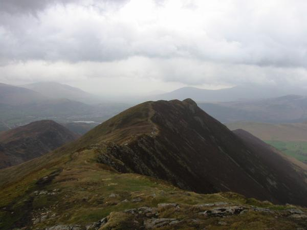 Looking back to Causey Pike from the ascent of Scar Crags