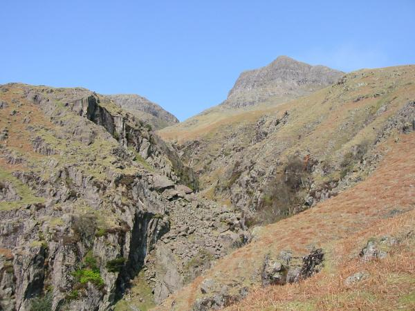 Dungeon Ghyll with Harrison Stickle on the right