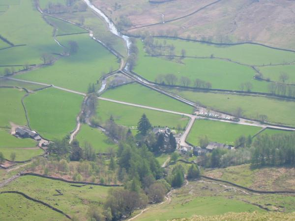 Looking down on the New Dungeon Ghyll Hotel and Stickle Barn from Pike Howe