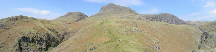 Dungeon Ghyll, Thorn Crag, Harrison Stickle, Pavey Ark and Stickle Ghyll from Pike Howe