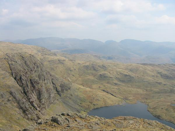 Pavey Ark and Stickle Tarn from Harrison Stickle's summit