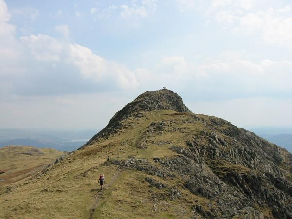 Heading for Loft Crag's summit