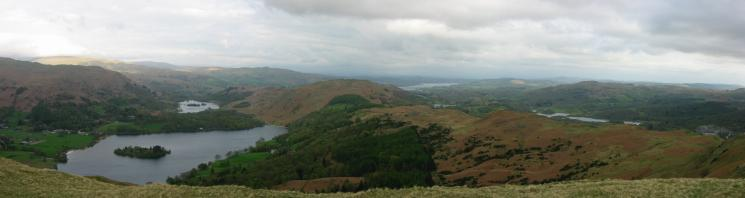 Four lakes and a tarn from Silver How's summit