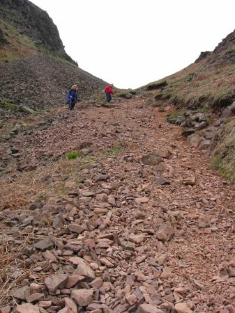 The steep scree gully descent off Silver How